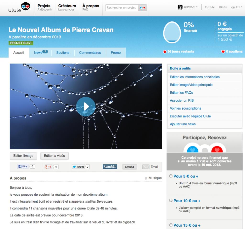 Capture d'écran du site Ulule.com