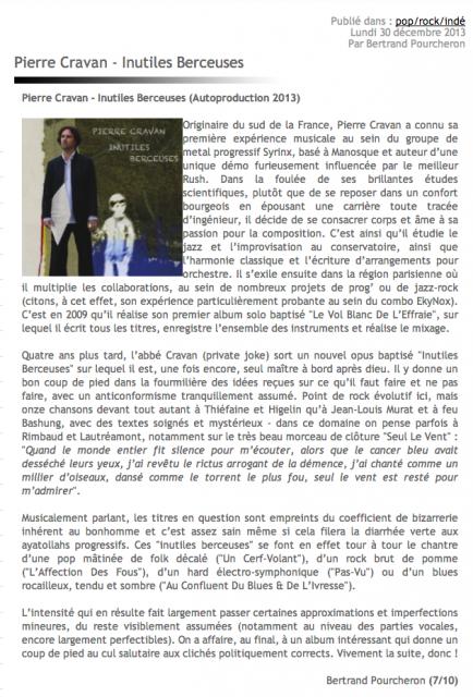 Chronique de l'Album Inutiles Berceuses de Pierre Cravan par Bertrand Pourcheron sur le Site Clair et Obscur