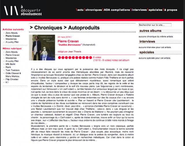 Chronique de l'abum Inutiles Berceuse par Jean Thooris sur adecouvrirabsolument.com